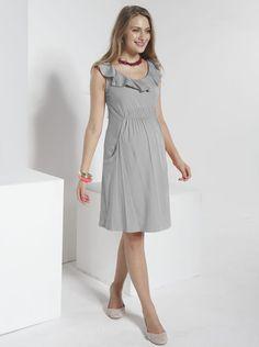 Ruffle Neck Rayon Maternity Dress daily maternity dress, casual maternity dress