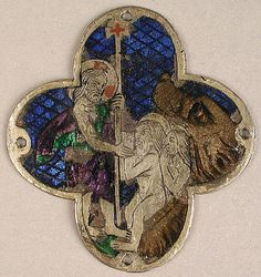 Plaque with Christ with Adam and Eve in Limbo  Date:     14th century Geography:     Made in Catalonia, Spain Culture:     Catalan Medium:     Basse taille enamel, silver Dimensions:     Overall: 2 3/16 x 2 x 1/16 in. (5.5 x 5.1 x 0.1 cm) Classification:     Enamels Credit Line:     Gift of J. Pierpont Morgan, 1917 Accession Number:     17.190.972 Metropolitan Museum of Art, New York