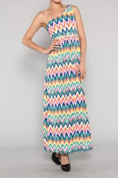 salediem.com Boutique fashions at lower prices.  Shipping is FREE One shoulder colorful missoni maxi dress