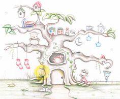 Decoración infantil Il Mondo di Alex, Papel mural efecto pintado a mano, ARBOL ENCANTADO... personalizado con nombre o frase y a medida.