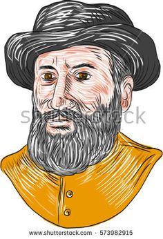 Drawing sketch style illustration of Ferdinand Magellan aka Fernando de Magallanes,a Portuguese explorer who organised Spanish expedition to East Indies to circumnavigate the earth. viewed from front. #ferdinandmagellan #sketch #illustration