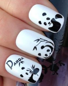 40 Animal Themed Nail Art Designs To Inspire You - Page 2 of 4 - Best Nail Designs ,Hair Sytles,Fashion Panda Bear Nails, Panda Nail Art, Animal Nail Art, Panda Bears, Cute Nail Designs, Acrylic Nail Designs, Acrylic Nails, Trendy Nails, Cute Nails