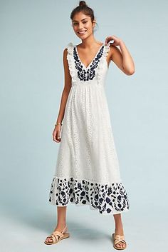 Embroidered Eyelet Midi Dress