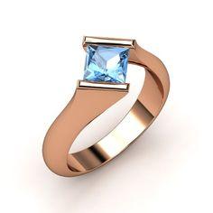 Rose Gold and Blue Topaz Slant Ring ♥ #Capri #Jewelers #Arizona ~ www.caprijewelersaz.com  ♥