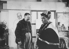 Diego Rivera & Mario Moreno (Cantinflas) in his studio