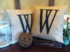 Personalized Burlap Pillow Cover Choose Your Size by SassafrasHome, $22.00