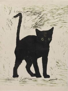 Cat - Karin Mamma Andersson , 2015. Swedish, b. 1962- Handprinted colour woodcut, monotype on rice paper, 22 ½ x 18⅞in.(57 x 48cm).
