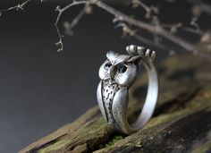 Lucky Owl Ring Women's Girl's Retro Burnished Animal Bird Ring Jewelry Adjustable Free Size Wrap Ring Black Crystal gift idea on Etsy, $10.00