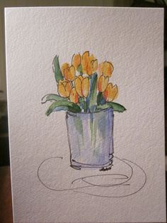 Yellow Tulips Watercolor Card by gardenblooms on Etsy, $3.50