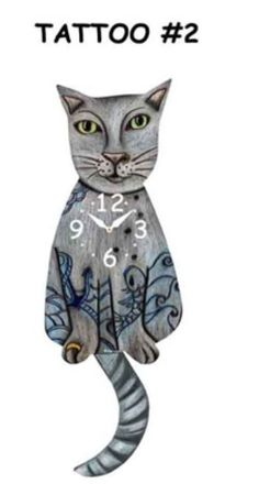 70e6a221a Cat Pendulum Clocks > Pink Cloud Tattoo Cat #2 Swinging Tail Pendulum .