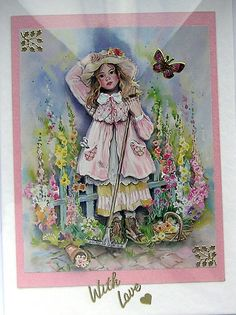 How does you Garden Grow  HandCrafted 3D by SunnyCrystals on Etsy, £1.35 #card #garden #decoupage #summer #pink #butterfly