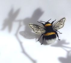 mixed media Bumble bee by PhillipaEngland on Etsy, $40.00 beautiful needle felted 3d wire art sculpture of a bee with silvery fabric machine embroidered wings