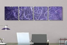 "$180 with shipping - 51"" L x 12"" W - Modern Abstract Metal Wall Art Purple Home Decor - Mystification - Jon Allen."
