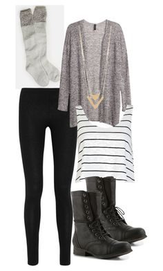 wintery outfit... stripes and chevron by bellalee2000 on Polyvore featuring H&M, River Island, Donna Karan, American Eagle Outfitters and Madden Girl