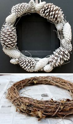$10 Pine Cone Wreath | DIY Christmas Wreaths for Front Door | Easy Christmas Decorating Ideas 2014