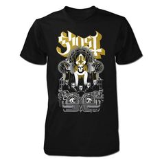NEW! This tee features metallic gold ink on front Ghost logo design printed on black 100% preshrunk cotton black tee.