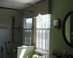 Using a valence and cafe shutters provides both privacy and light to this bath - traditional - bathroom - philadelphia - EASYdesigns