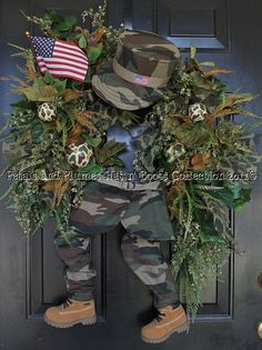 "Soldier Wreath-Support Our Troops- Memorial Day-July 4th Wreath - Petals & Plumes ""Hat n' Boots Collection©"""