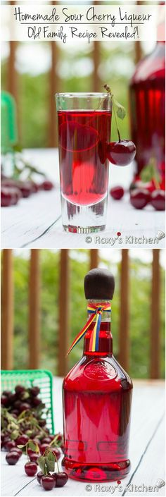 Homemade Sour Cherry Liqueur – Easy Old Family Recipe Revealed! – Roxy's Kitch… Homemade Sour Cherry Liqueur – Easy Old Family Recipe Revealed! – Roxy's Kitchen… Only four ingredients required! Cocktail Drinks, Fun Drinks, Yummy Drinks, Alcoholic Drinks, Cocktails, Liquor Drinks, Bourbon Drinks, Cocktail Recipes, Homemade Alcohol