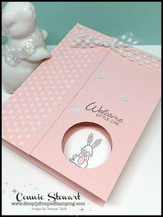 Baby Girl Cards, New Baby Cards, Tarjetas Diy, Card Making Tutorials, Greeting Cards Handmade, Simple Handmade Cards, Baby Shower Cards Handmade, Kids Cards, Homemade Cards