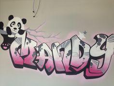 Muurschildering naam graffity gemaakt door www.vrolijkemuur.nl