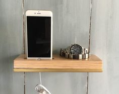 Phone stand damask figured white and black by OrganizedWoodDesign