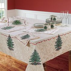 """Spode Christmas Tree By Avanti 60"""" X 144"""" Oblong Tablecloth Red Multi - The iconic Spode Christmas Tree pattern gets a complete and elegant update just in time for holiday entertaining. Featuring rich coloration with a whimsical tree and playful Santa on a shimmering ivory background, to set a festive table. Christmas China, Spode Christmas Tree, Christmas Tree Pattern, Christmas Table Cloth, Woodland Christmas, Christmas Tablescapes, Red Christmas, Xmas Tree, Vintage Christmas"""