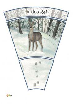 3 Kindergarten KiGaPortal Winter Spuren Schnee Waldtiere Reh