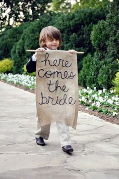 children in weddings are so cute!  write a cute message to the groom about the bride! love it.