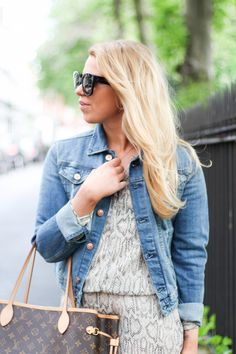 Denim jacket, H&M / Dress,  MANGO / Sunglasses, CELINE / Bag, LOUIS VUITTON // Jenni Ukkonen blog