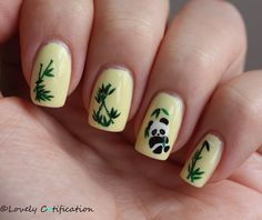 Panda Nail Art, I only like the nail with the panda on it.