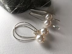 "Minimalist ""power pearls""-10mm Swarovski #pearls w/ .925 #silver. https://www.etsy.com/shop/JoyfulByNature?section_id=18189541&ref=shopsection_leftnav_4 #gift #earrings #etsymntt"