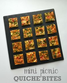 Mini Picnic Quiche Bites - recipe from The Veg Space for perfect vegetarian picnic nibbles  http://www.thevegspace.co.uk/recipe-mini-picnic-quiche-bites/