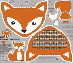 fox pillow and fox softie toy cut and sew pattern fabric by katarina on Spoonflower - custom fabric