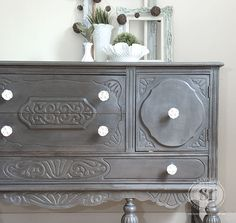I painted this Vintage Buffet in #GeneralFinishes Driftwood and used a DIY Custom Dark Wax to get this finish. Loving it! :)
