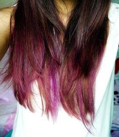 one pink streak in brown hair - Google Search