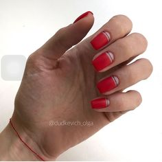 Nail polish strips are an easy way to add designs with tape to your manicure ❤ Here you find great ideas can be easily customized ❤ See more at LadyLife ❤ Manicure Y Pedicure, Shellac Nails, Red Nails, Acrylic Nails, Cute Nails, Pretty Nails, Minimalist Nails, Nail Polish Strips, Square Nails