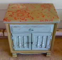 The Kimono Allover stencil from Royal Design Studio is used on furniture along with Chalk Paint® decorative paint by Annie Sloan via Cerro Paint.