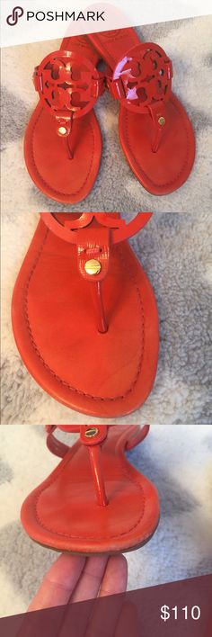 super Saturday sale Tory Burch Miller Sandals Tory Burch Miller Sandals  In great Condition a few wear sings on the front bottom of the sandals and a few water spots too , see pictures  . No box . Great for summer . Size 6 true to size ! Tory Burch Shoes Sandals