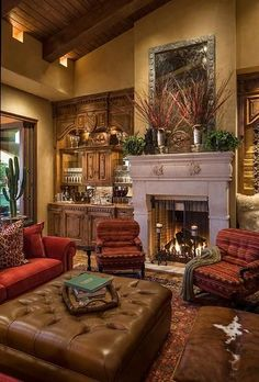 Fancy Living Room Design Ideas With Tuscan Style - Mediterranean Decor Tuscan Living Rooms, Fancy Living Rooms, Living Room Designs, Living Room Decor, Living Area, Cozy Living, Modern Living, Design Patio, Design Exterior