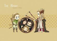 Legolas and Thranduil bothering Thorin, Fili, and Kili.