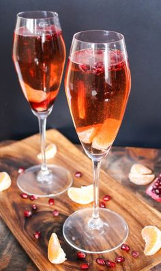 Pomegranate & Clementine Champagne Cocktails