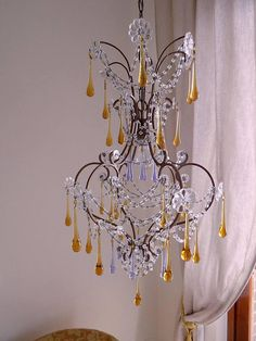 Antique Murano glass drops chandelier, Italian antique lighting, glass Macaroni beads, OOAK This is a real treasury item from Italy dating back to the early 900s. It has a splendid wrought iron birdcage shape covered with wonderful original glass florettes and enriched with