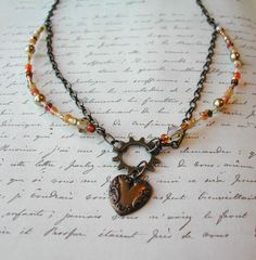 "Steampunk Necklace ""Heart of Gold"""