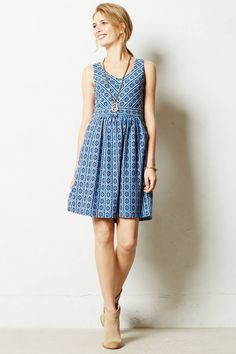 Lazuli Dress - anthropologie.com ... great style, color, fabric design and I love how it looks with a drapey cardigan too.