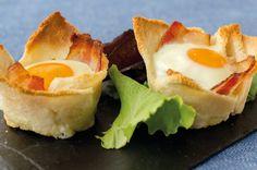 Tartaletas de #huevo y #bacon #receta