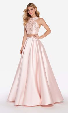 Alyce Paris - 60063 Two-Piece High Halter Mikado Long A-Line Prom Dress (sleeveless, lace, rhinestones, cut-in shoulders, crisscrossed cutout back, back zip, natural waist)