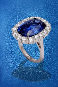 Details About 19 Carat Ceylon No Heat Sapphire And Diamond Ring Diamond Rings Diamond Ring
