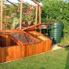 Cold frames around the greenhouse.