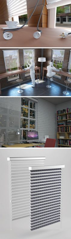 The Solar Blind transforms everyday blinds into a multifunctional, efficient way to harness the sun's energy. Whether it's at home, the office, or even in a coffee shop, users can tap right into clean electricity to power and charge their devices. Solar cells are attached to each slat on the blind, creating an entire system that's capable of storing and converting solar energy into electrical power.